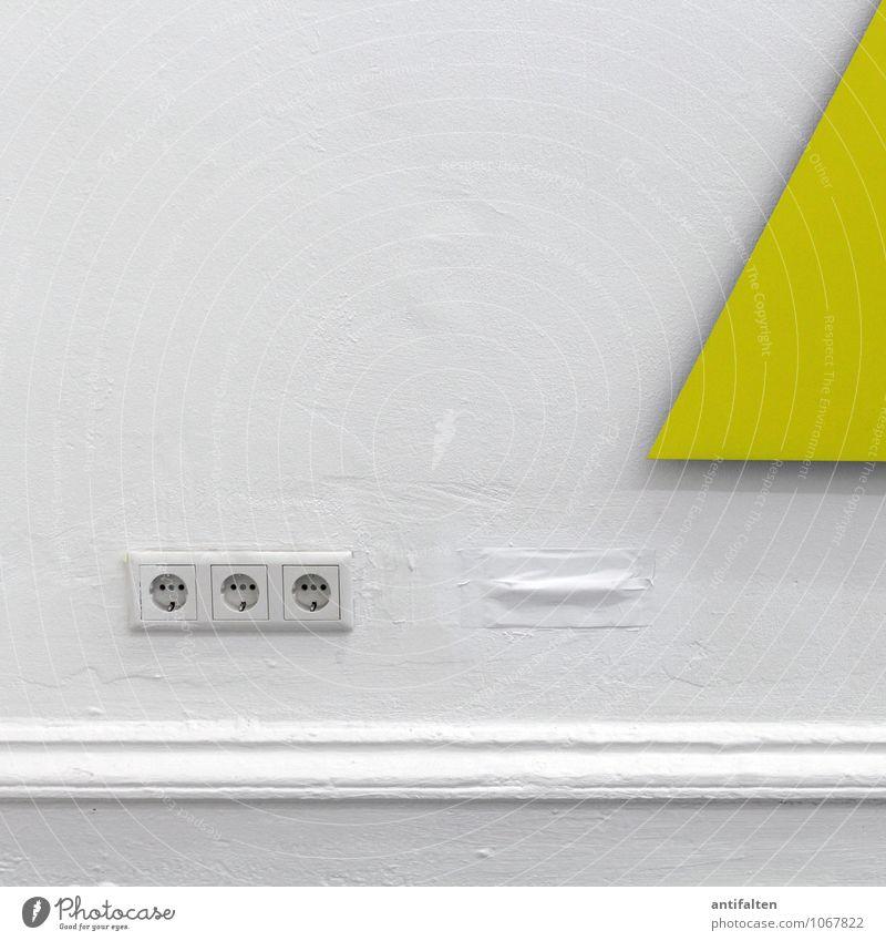 Yellow Strom Steckdose Stecker Elektrizität Technik & Technologie Energiewirtschaft Bauwerk Gebäude Architektur Mauer Wand Stuck Raufasertapete Stein Beton