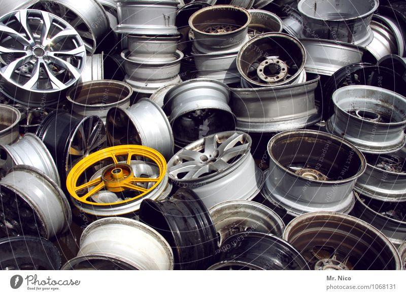 heavy metal II Freizeit & Hobby dreckig gelb grau silber Umweltverschmutzung trashig Stahl Metall Felge Autowerkstatt Teile u. Stücke Arbeit & Erwerbstätigkeit