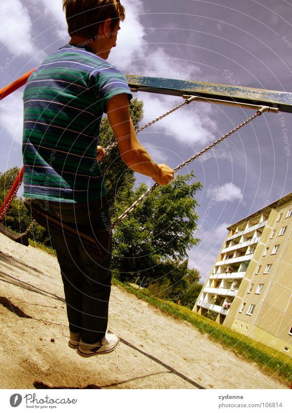 Sitting here, thinking 'bout yesterday IV Schaukel Wohnhochhaus Wohnsiedlung Plattenbau Osten schön Spielplatz Mann genießen Erholung Leichtigkeit Denken Glück