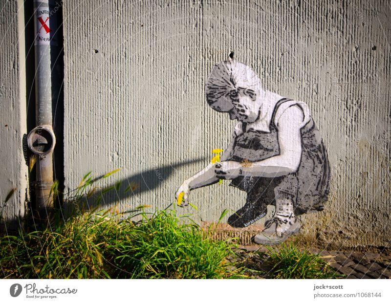 natürlich eine Blume Sommer Mädchen Wand Gras Mauer Glück außergewöhnlich fantastisch Kreativität niedlich Romantik festhalten zeigen Geborgenheit