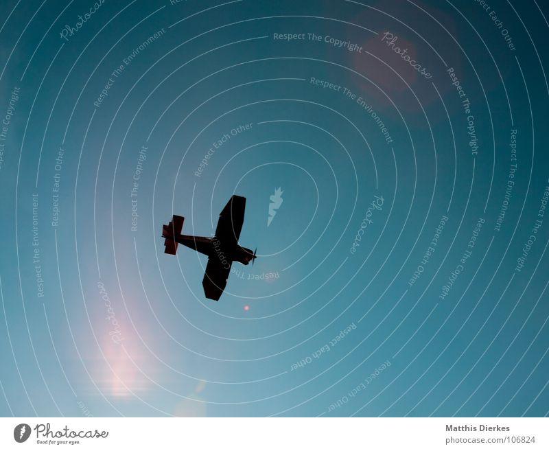THROUGH THE SUN Himmel blau grün Ferien & Urlaub & Reisen Sommer Freude schwarz Erholung Umwelt dunkel Freiheit Freizeit & Hobby Klima Beginn Flugzeug