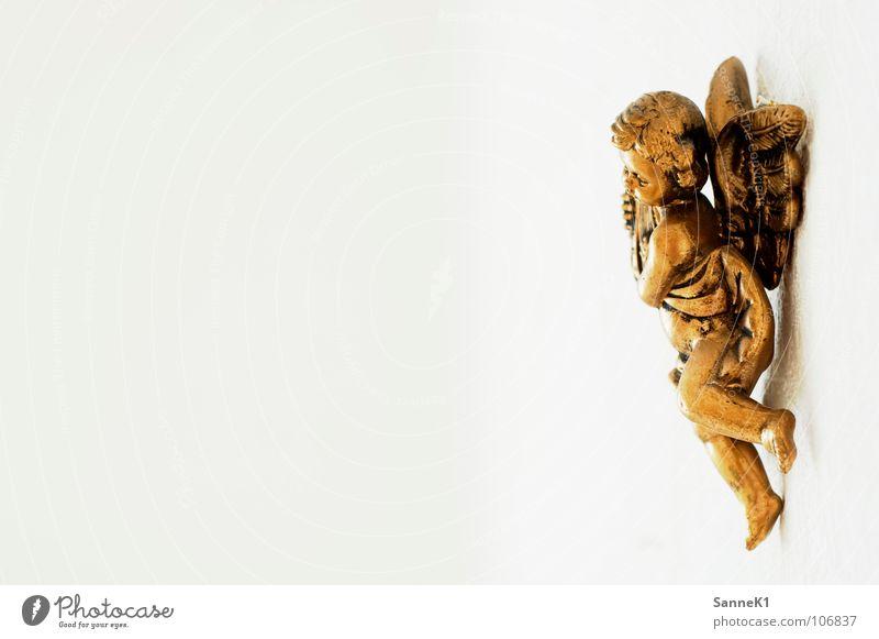 Einsamer Engel Weihnachten & Advent weiß Einsamkeit Wand Religion & Glaube gold Dekoration & Verzierung hängen antik Sinnbild