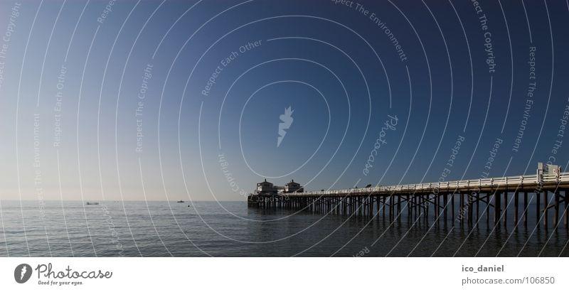 Malibu Beach Ferien & Urlaub & Reisen Meer Wasser Schönes Wetter positiv blau Seebrücke Pazifik Kalifornien USA Blauer Himmel Horizont Zentralperspektive