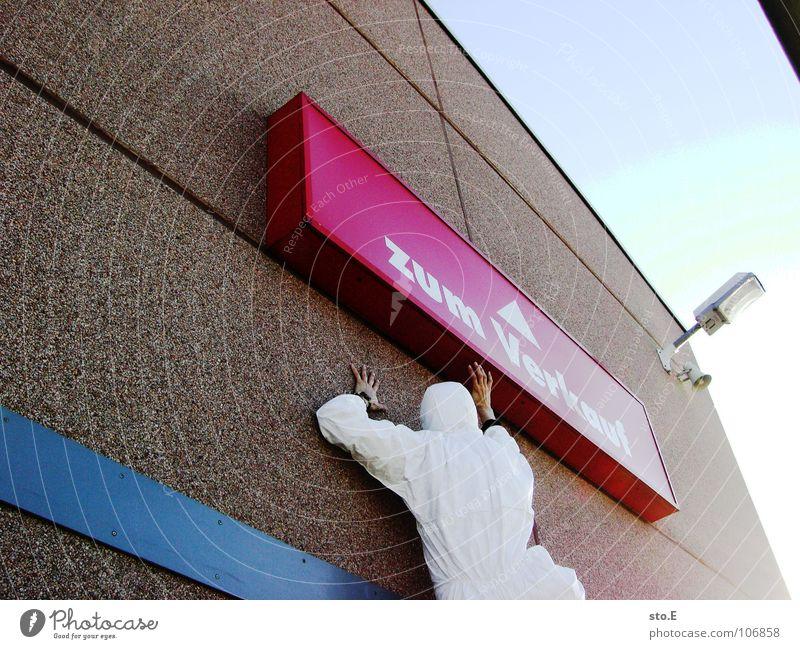 falsch verstanden Mensch Himmel blau weiß Haus Straße Wand Gebäude Denken hoch Schilder & Markierungen Erfolg Platz Aktion Hinweisschild Sicherheit