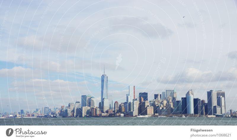 City of New York Skyline e) Ferien & Urlaub & Reisen Ferne Architektur Gebäude Freiheit Tourismus Hochhaus genießen Ausflug Abenteuer Bauwerk Skyline Bankgebäude Wahrzeichen Sehenswürdigkeit Amerika