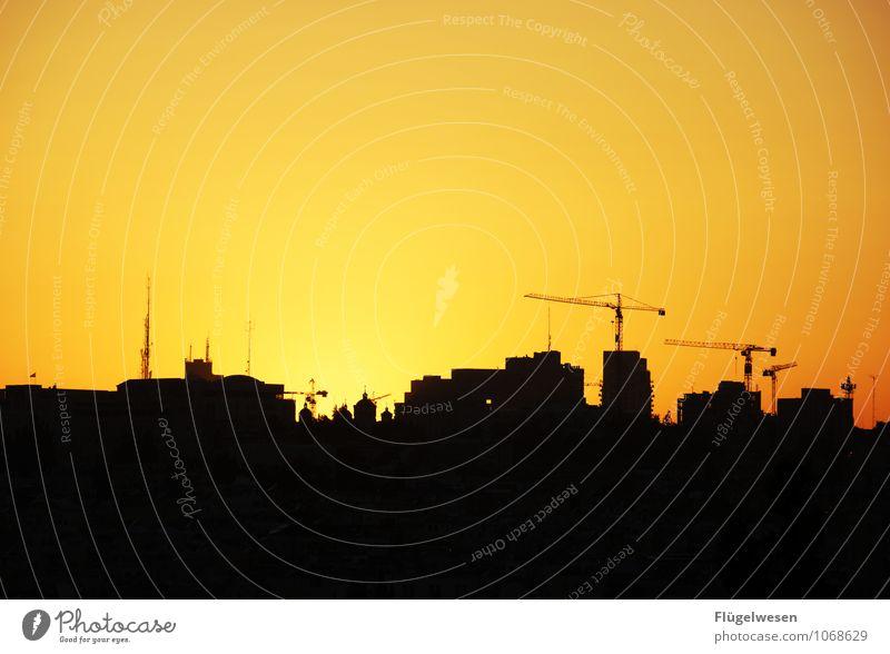 Jerusalem Night [9] Ferien & Urlaub & Reisen Sightseeing Städtereise Sehenswürdigkeit Wahrzeichen Denkmal genießen Kran Baustelle Altstadt Israel Nacht