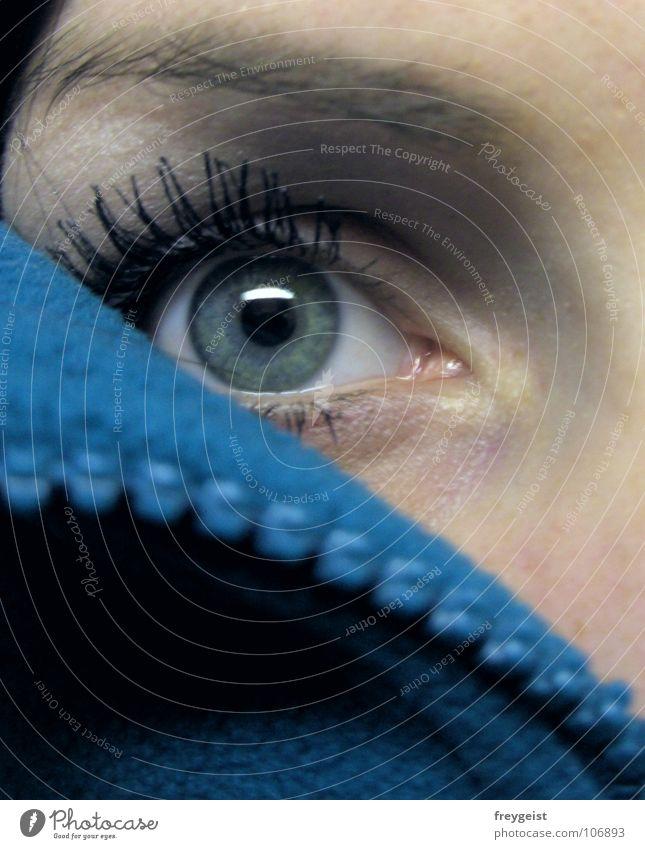 Cold Eye(s) kalt Jacke Reißverschluss türkis nah Herbst Auge cold eyes blau petrol Makroaufnahme Blick view