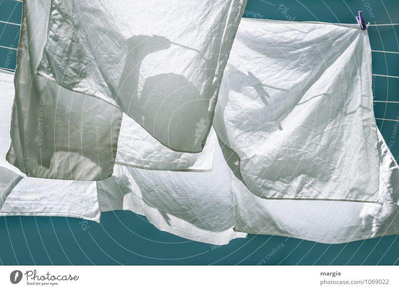Wäsche aufhängen Körperpflege Sonne Sonnenlicht Frühling Sommer Wäscheleine Wäsche waschen Wäscheklammern Sauberkeit blau weiß fleißig Luft Wind trocknen