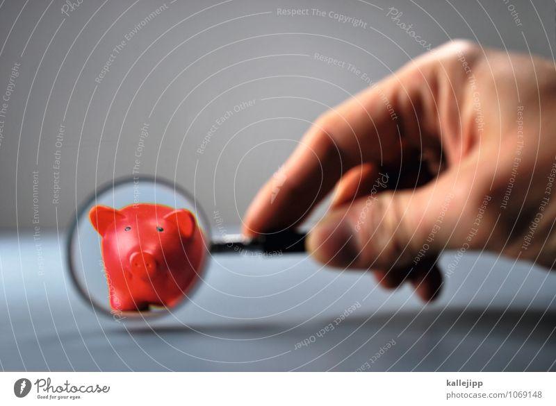 zinsen? Hand rot grau klein Arbeit & Erwerbstätigkeit Glas Tisch Finger rund Geld Geldinstitut Bankgebäude trendy sparen Euro Kapitalwirtschaft