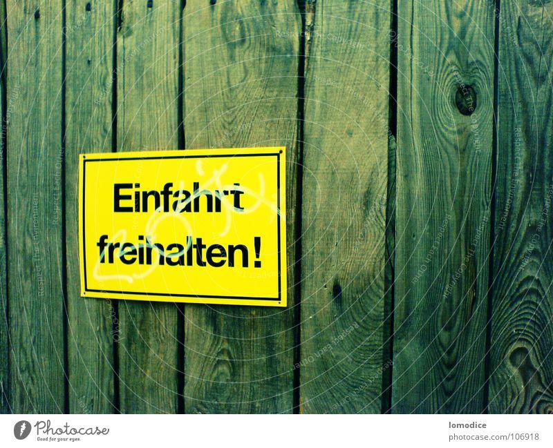 Einfahrt freihalten ;) gelb Holz Schilder & Markierungen Haushalt