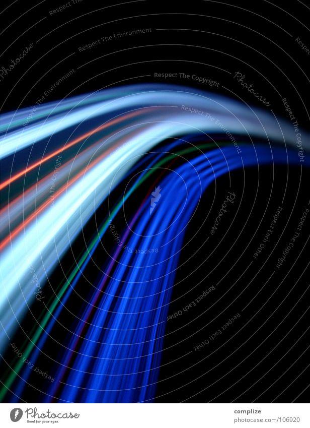lightwaves 03 Streifen Licht elektronisch schwarz violett grün Unschärfe Langzeitbelichtung Belichtung Regenbogen Technik & Technologie Farbenspiel SMS Disco