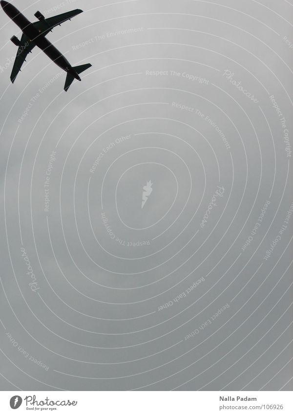 Luftverkehr Himmel Ferien & Urlaub & Reisen schwarz grau träumen Flugzeug trist nah bedecken Firmament