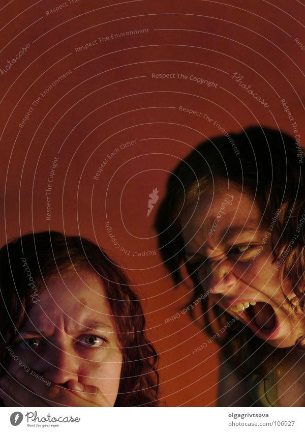 Der innere Konflikt Konflikt & Streit Schizophrenie Bewusstsein stumm festhalten Gefühle lautstark sprechen Problematik Wut Ärger Wur Angst Gewalt schreien