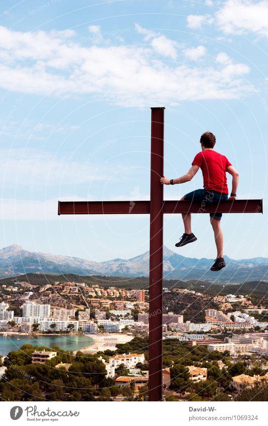 hoch hinaus Mensch Ferien & Urlaub & Reisen Jugendliche Mann Erholung Junger Mann ruhig Freude Ferne Erwachsene Berge u. Gebirge Leben Freiheit Stimmung