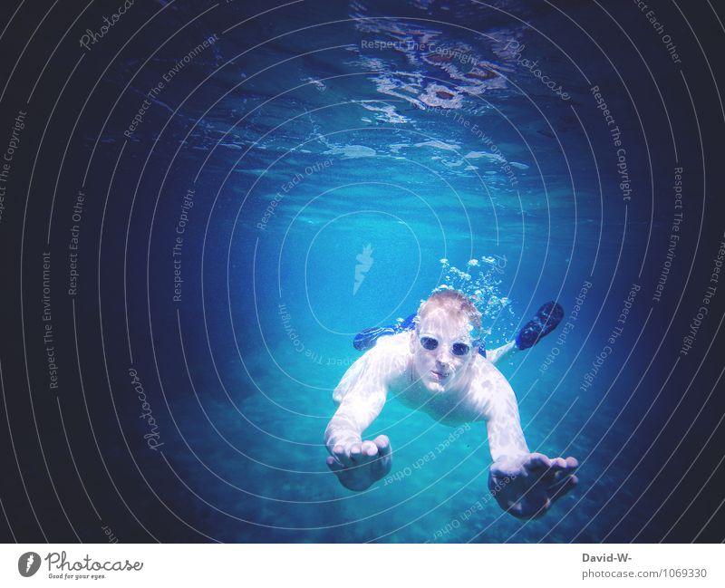Urlaub tauchen Mensch Frau Ferien & Urlaub & Reisen Jugendliche blau Sommer Meer Junger Mann dunkel Erwachsene Lifestyle Freundschaft maskulin Freizeit & Hobby