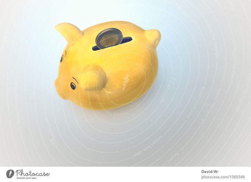 für die Zukunft Lifestyle kaufen Reichtum Freude Glück Geld sparen Kindererziehung Kapitalwirtschaft Geldinstitut füttern Erfolg gelb sparsam Spardose Euro 1