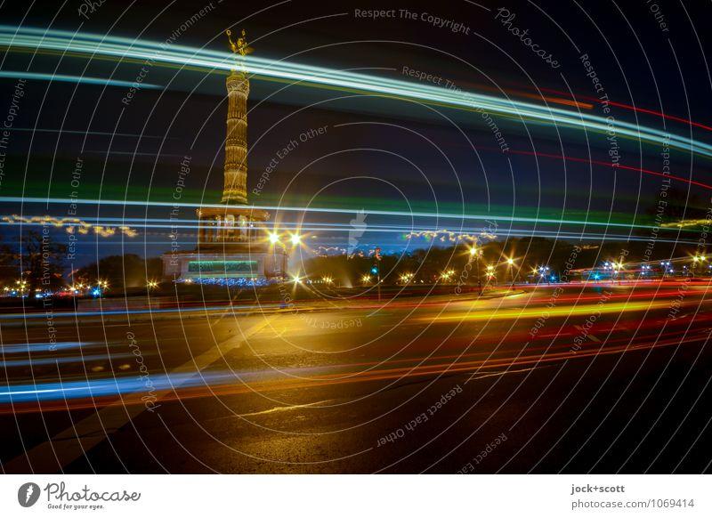 Abfahrt Siegessäule Nachthimmel Winter Tiergarten Hauptstadt Stadtzentrum Sehenswürdigkeit Kreisverkehr Streifen fahren Bekanntheit dunkel groß lang