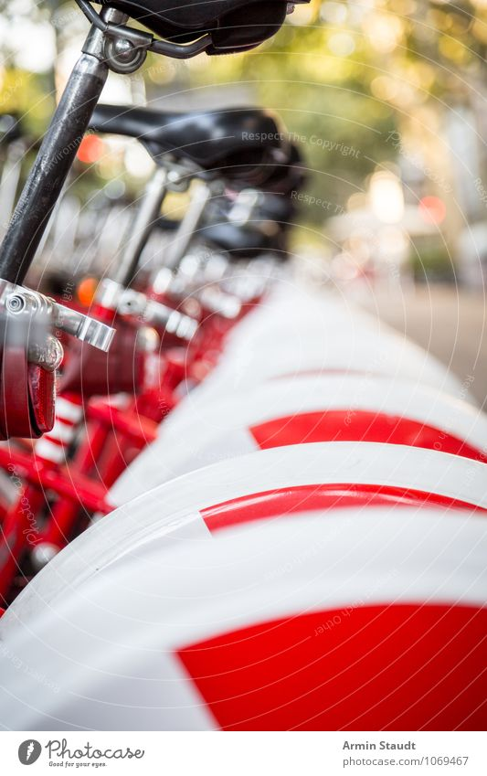Fahrradarmee Ferien & Urlaub & Reisen Stadt weiß rot Lifestyle Freizeit & Hobby Business Design Tourismus authentisch Verkehr Perspektive Ausflug kaufen