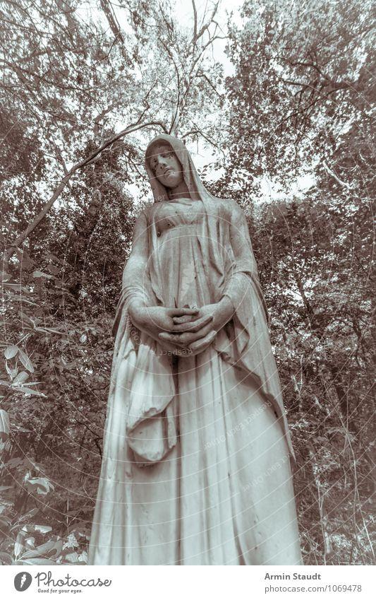 Lange Maria feminin Frau Erwachsene Mutter Leben Skulptur Himmel Wald Traurigkeit dunkel groß kalt Kitsch retro trist blau grün Gefühle träumen Sorge Tod Gebet