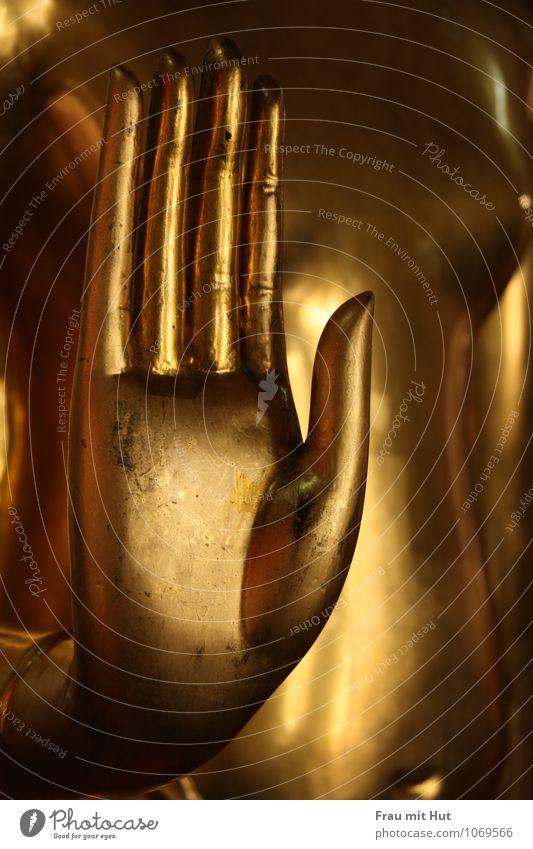 Buddhas goldene Hand Ferien & Urlaub & Reisen kalt Religion & Glaube Metall glänzend Gold Kultur Hoffnung Asien Brust Skulptur Inspiration Thailand