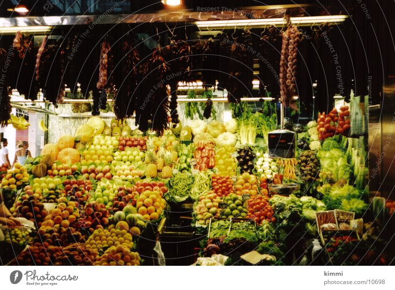 La Boqueria Marktstand Frucht Europa Barcelona Obst- oder Gemüsestand