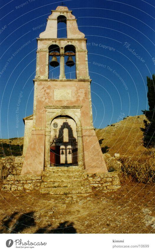 Paleo Perithia 2/ Corfu Haus Dorf Griechenland Abenddämmerung Kirchturm Europa alte Kirche Korfu Religion & Glaube Glockenturm