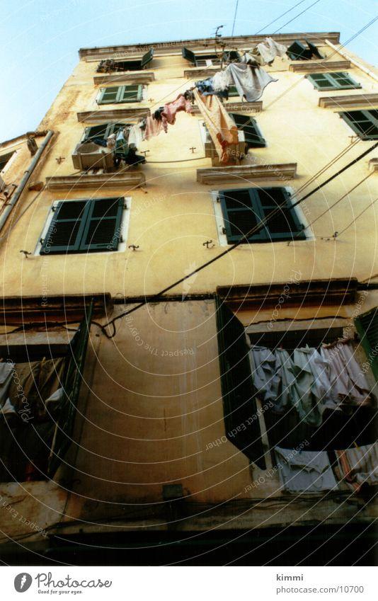 Korfiotische Impression Haus Fassade Europa Wäsche Wäscheleine
