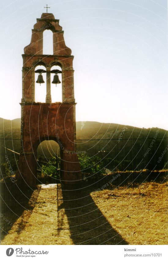 Paleo Perithia/ Corfu Haus Dorf Griechenland Abenddämmerung Kirchturm Europa alte Kirche Korfu Religion & Glaube Glockenturm