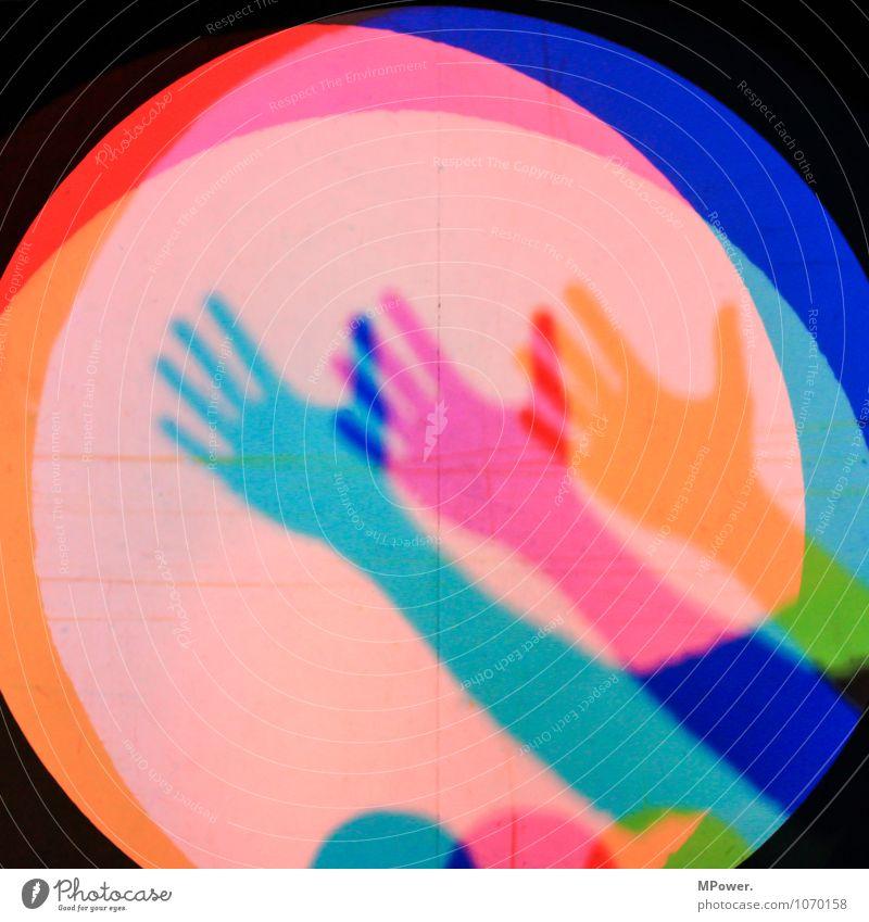 dreihändig blau grün Hand rot Beleuchtung Kunst Selbstportrait