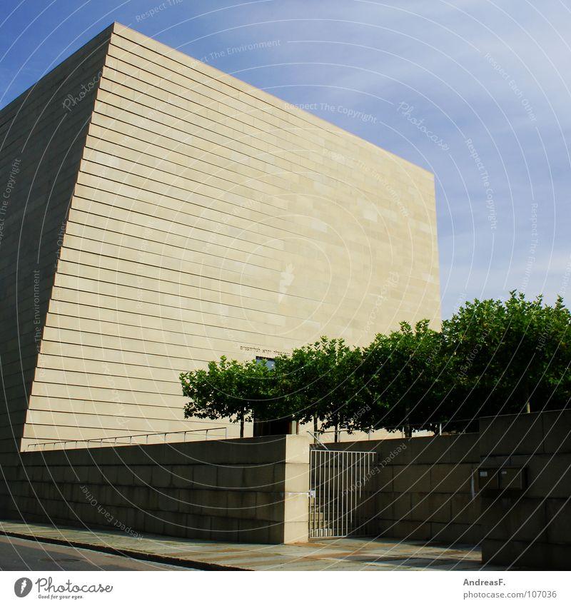 Synagoge Dresden Wand Architektur Mauer Religion & Glaube Stein Beton Schönes Wetter Frieden Denkmal Dresden drehen Geometrie Sachsen Würfel Gotteshäuser Judentum
