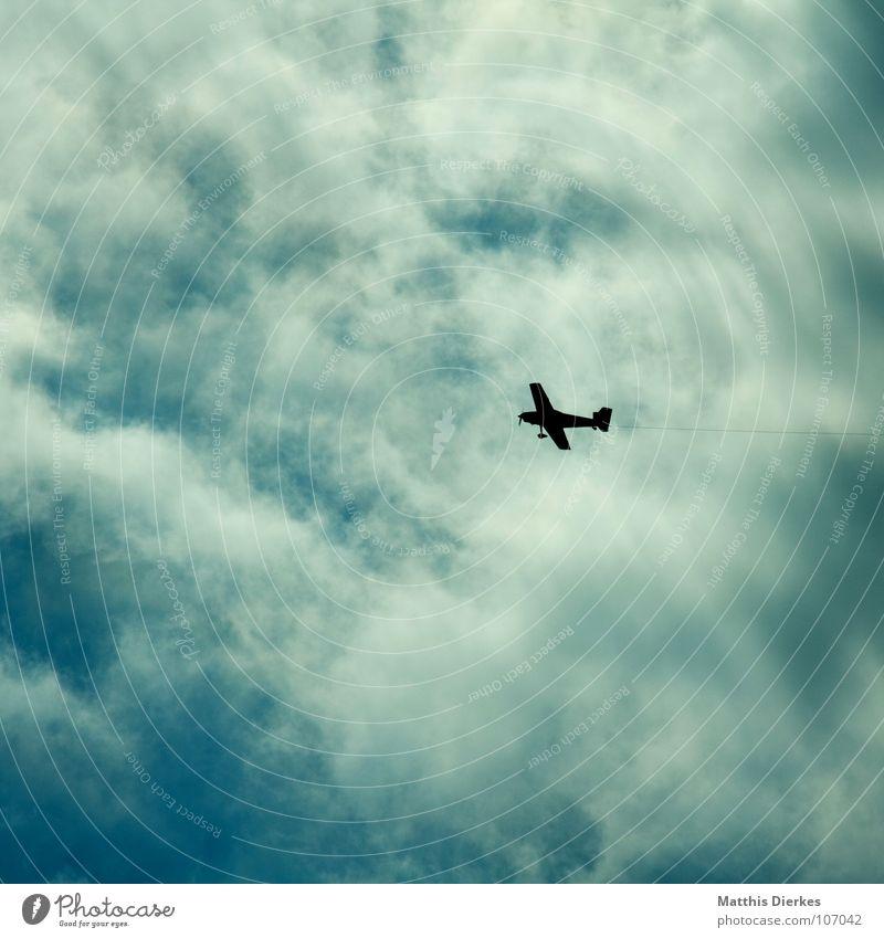 NACH LINKS Ferien & Urlaub & Reisen Wolken Wege & Pfade Vogel klein Flugzeug Umwelt Erfolg Seil Luftverkehr gefährlich bedrohlich Flughafen Richtung