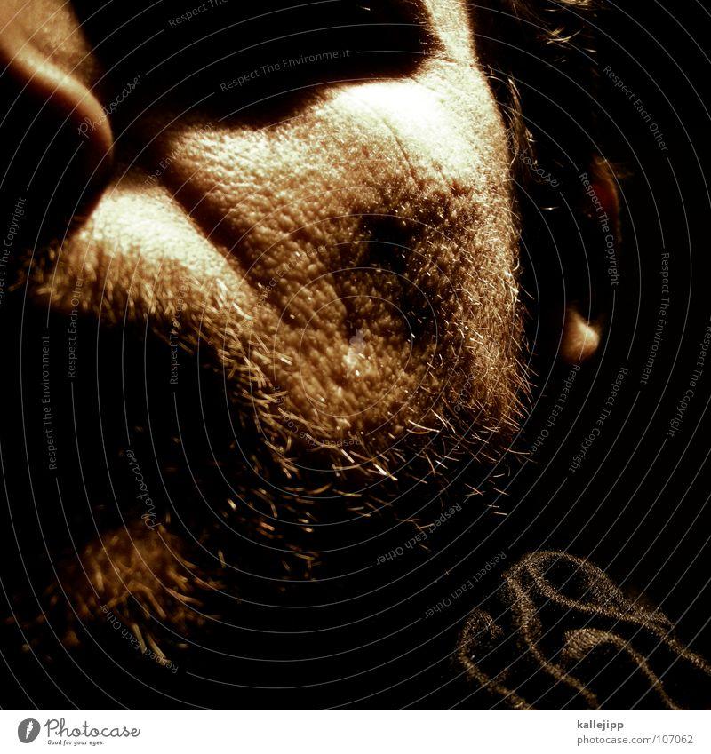 urlaubsbart Porträt Bart Licht Schal Pore Akne schwarz Mann maskulin Mörder Gesicht Haut skin Stoppel Schatten Narbe Falte Ohr Haare & Frisuren Nase augenhöle