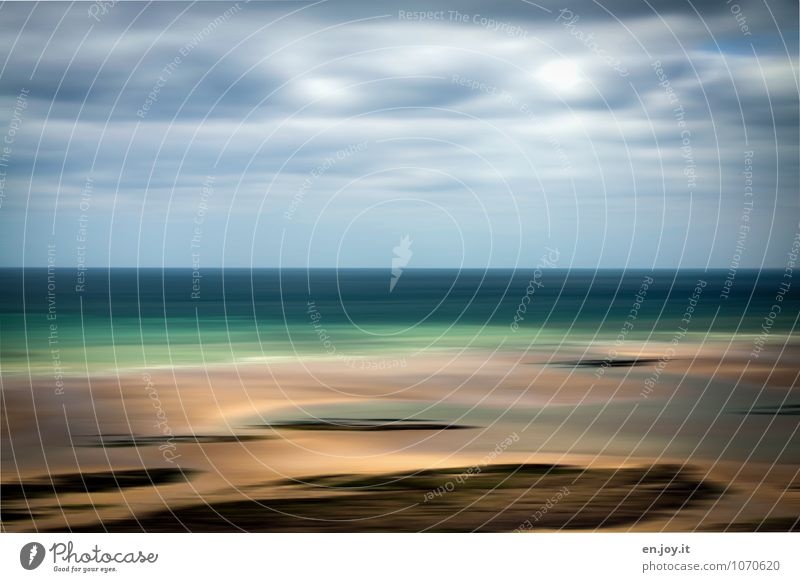 Treibsand Himmel Natur Ferien & Urlaub & Reisen blau Sommer Meer Einsamkeit Landschaft Wolken Strand Ferne Umwelt Küste Freiheit braun Horizont