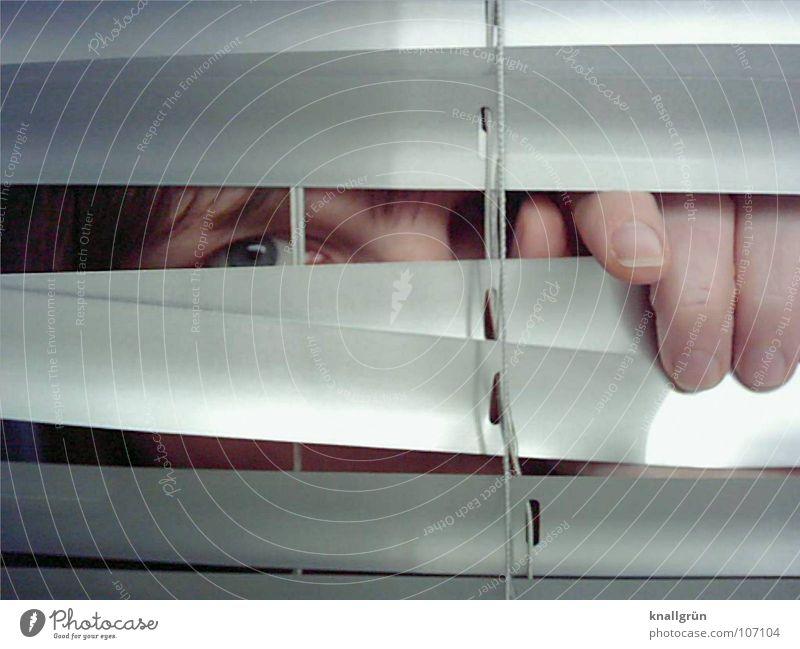 Ich seh' Dich! Frau Hand blau Auge Haare & Frisuren geheimnisvoll Konzentration verstecken direkt silber Jalousie Lamelle Augenfarbe