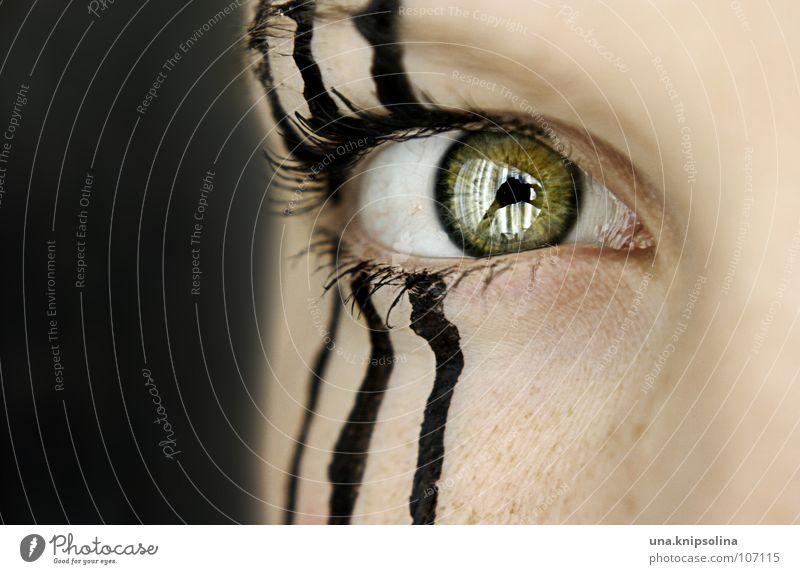 trois Streifen 3 schwarz gestreift Zebra grün Wimpern Pupille Augenbraue Frau Linie three Detailaufnahme Regenbogenhaut Lampe augenbraue sommersprossen