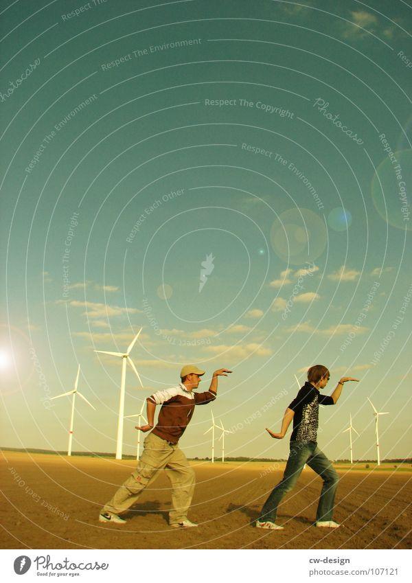 die gangart - walk like an egyptian Mensch Himmel Natur Jugendliche grün Ferien & Urlaub & Reisen Sonne Sommer Freude Wolken Ferne Erholung Wiese Herbst Spielen
