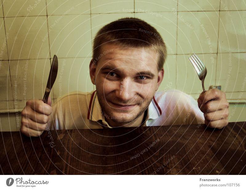 Beigepulte Schimmelkruste... Freude Ernährung lachen warten klein sitzen Tisch Hoffnung Fröhlichkeit Küche Fliesen u. Kacheln Neugier Appetit & Hunger Hemd