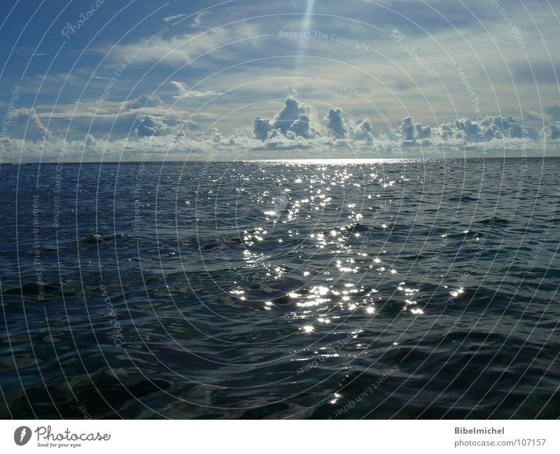 Als die Sonne das Meer berührte Natur Wasser Himmel Sonne Meer blau Sommer ruhig Wolken Ferne Leben Wellen glänzend Horizont Insel tauchen