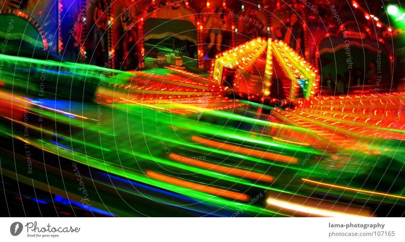 Speed Jahrmarkt Oktoberfest Frühlingsfest Attraktion Karussell Licht Glühbirne Neonlicht mehrfarbig glänzend Fahrgeschäfte Auto-Skooter Geschwindigkeit Aktion