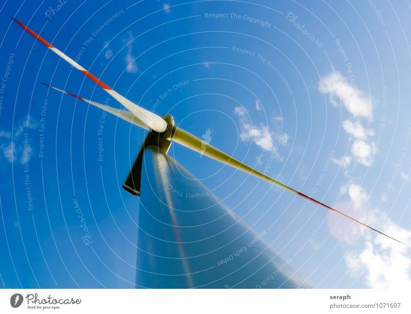 Windkraft Himmel Sommer Sonne Wolken Umwelt Bewegung Architektur Luft Kraft modern frei Energie Technik & Technologie Sauberkeit Tragfläche
