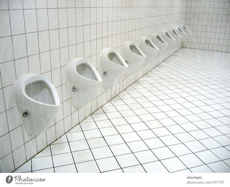 für Herren Mann weiß hell Sauberkeit Reinigen Gastronomie Toilette Fliesen u. Kacheln Geschirr Dienstleistungsgewerbe obskur Veranstaltung Freundlichkeit Ausstellung urinieren Becken