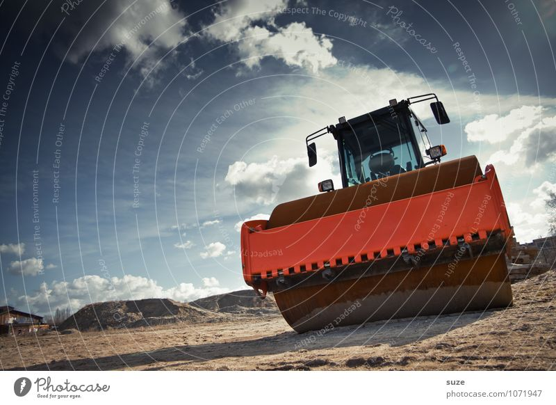 Dicker Wälzer blau kalt Umwelt Arbeit & Erwerbstätigkeit orange dreckig Erde groß einfach Industrie Baustelle stark Dienstleistungsgewerbe Wirtschaft dick