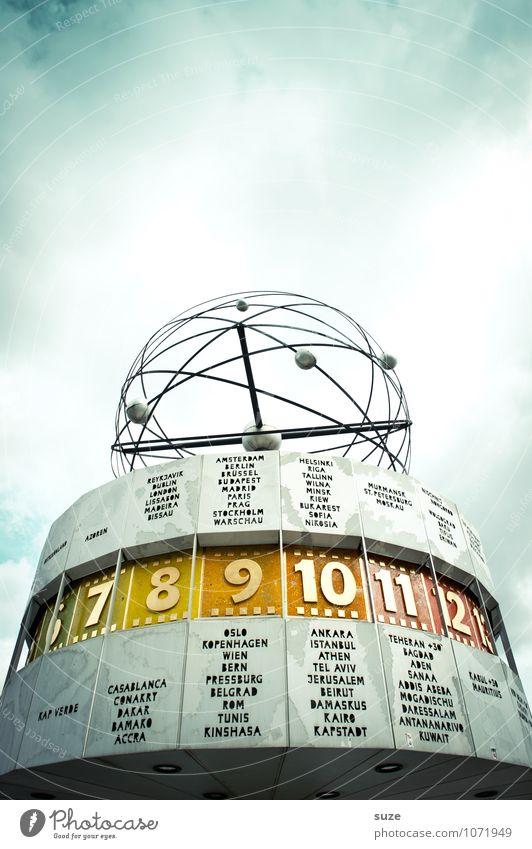 Alle Zeit der Welt ... Himmel Stadt blau Wolken Berlin Kunst Deutschland Wetter Uhr Tourismus Europa Zeichen rund Ziffern & Zahlen Bauwerk