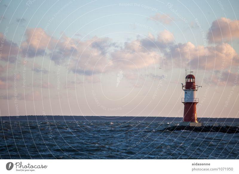 Leuchtturm Wasser Horizont Sonnenaufgang Sonnenuntergang Wind Ostsee Stimmung Zufriedenheit Warnemünde Rostock Mecklenburg-Vorpommern Europa Farbfoto