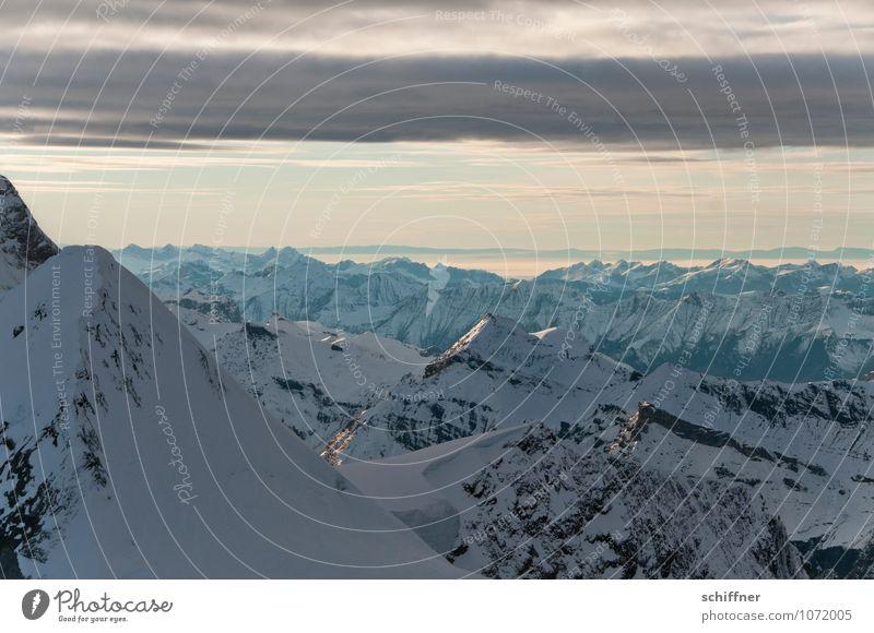 Druck von oben Natur Landschaft Ferne kalt Umwelt Berge u. Gebirge Felsen Gipfel Alpen Schneebedeckte Gipfel Gletscher Jungfrau (Berg) Berner Oberland