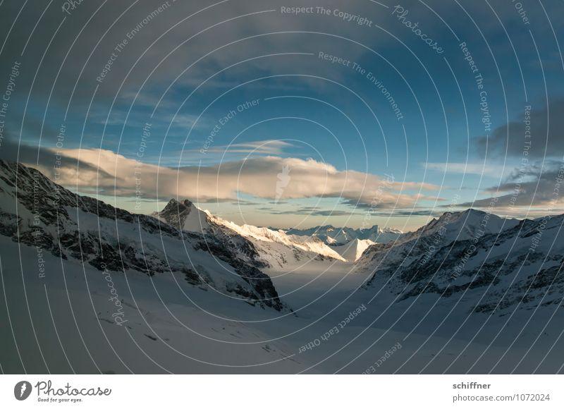 Riesenwolkenschaf, ganz klein Umwelt Natur Landschaft Himmel Wolken Schönes Wetter Eis Frost Schnee Felsen Alpen Berge u. Gebirge Gipfel Schneebedeckte Gipfel