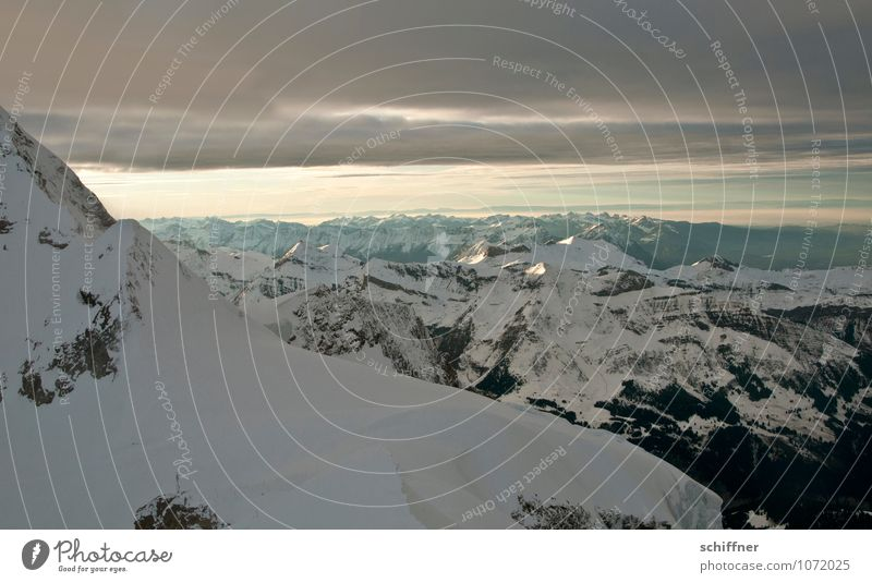 Genfer See Umwelt Natur Landschaft Klima Klimawandel Eis Frost Schnee Felsen Alpen Berge u. Gebirge Gipfel Schneebedeckte Gipfel Gletscher kalt Wolkendecke