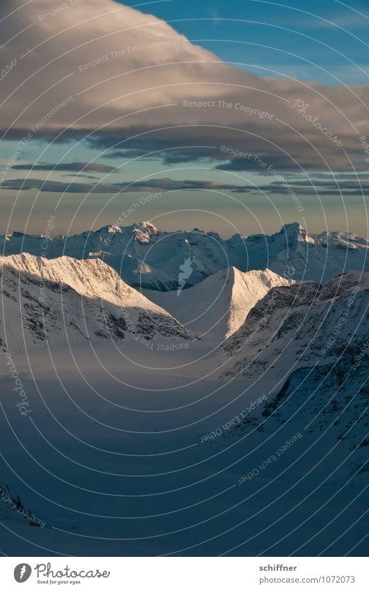 Am Ende des Tages Umwelt Natur Landschaft Wolken Sonnenaufgang Sonnenuntergang Sonnenlicht Klima Klimawandel Wetter Schönes Wetter Eis Frost Schnee Felsen Alpen