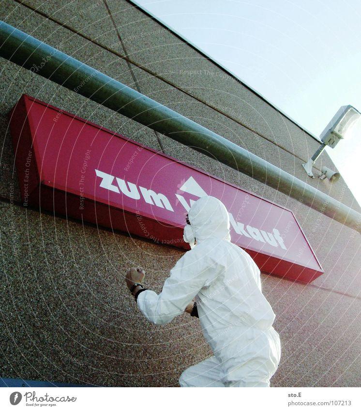 verkaufsstrategien Mensch Himmel blau weiß Haus Straße Wand Gebäude Denken hoch Schilder & Markierungen Erfolg Platz Aktion Hinweisschild Sicherheit