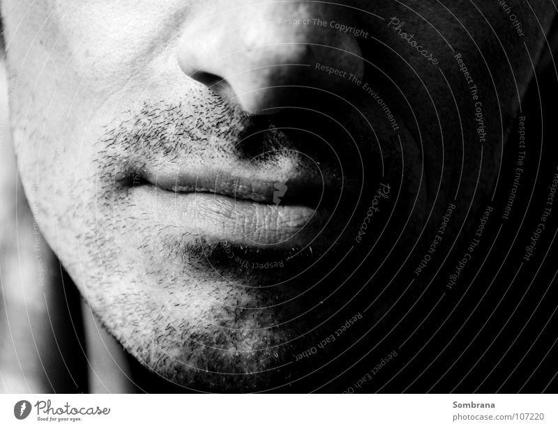 Those Lips! maskulin Mund Lippen Kinn Wange Bartstoppel Rasieren schweigen Kontaktperson Schatten Zucker lecker typisch Lächeln Denken Erfolg Konzentration